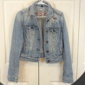 American Eagle Denim Boho embroidered   jacket Med